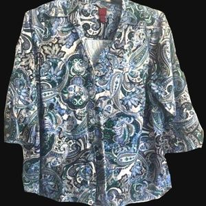 2X 212 Collection Paisley Button Up Blouse